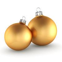 3D rendering golden Christmas balls