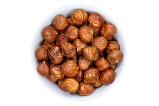 Haselnüsse Nüsse von oben isoliert freigestellt Freisteller