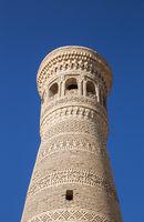 Minaret Khoja Kalon in Bukhara close-up
