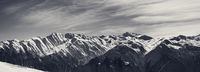 Panoramic view on sunlight snowy mountains in nice morning