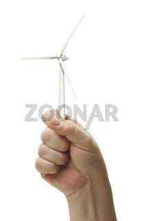 Male Fist Holding Wind Turbine Isolated