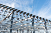 steel structure workshop in construction