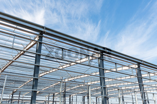 steel structure workshop in construction
