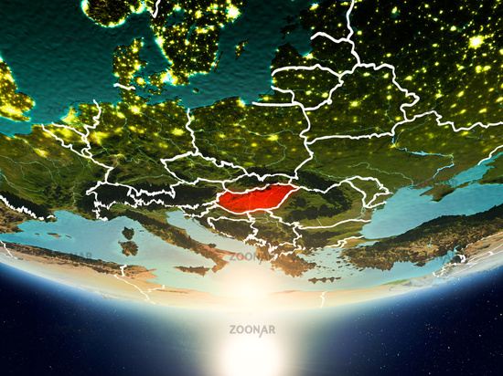 Hungary with sun on planet Earth