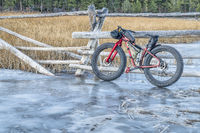 fat bike on icy stream in Rocky Mountains