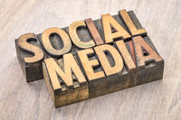social media word abstract in wood type