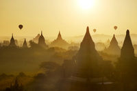 Bagan view with hot air balloons