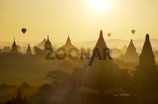 Bagan view with hot air balloons
