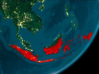 Indonesia from space at night