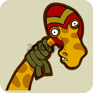 vector cartoon of winter giraffe