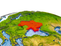 Ukraine on model of Earth