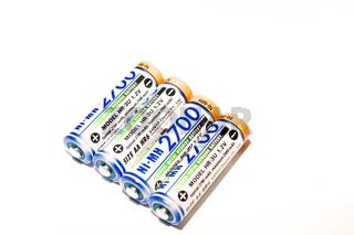 Batterie Set vor weißem Hintergrund