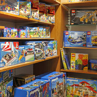 Shelves with childrens toys