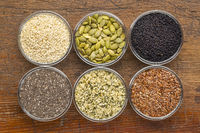 healthy seed collection in glass bowls