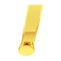 Gold exclamation mark with gradient reflections isolated on white. High resolution 3D image