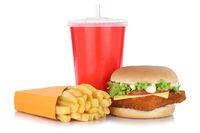 Fischburger Fisch Burger Backfisch Hamburger Menu Menü Menue Pommes Frites Getränk Freisteller freigestellt