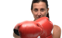 Mature woman boxing