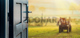 Opened door concept to beautiful and imaginary landscape of contryside