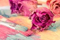 Abstract painting with dried roses