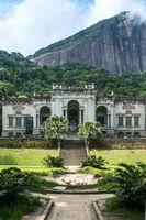 Rio de Janeiro, Brazil - January 3, 2017: Italian architecture style mansion in Parque Lage. It is now a School of Visual Arts of Rio de Janeiro