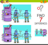 differences game with comic robot characters