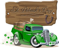 Vector Saint Patrick's retro cartoon beer pick-up