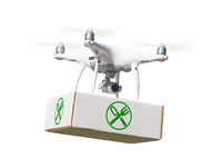 Unmanned Aircraft System (UAV) Quadcopter Drone Carrying Package With Food Symbol Label On White.