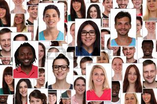 Hintergrund Collage multikulturell junge Leute People Menschen Gruppe