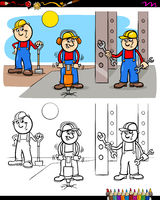 workers or builders characters coloring book