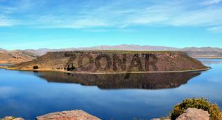 Island in Umayo Peruvian lake landscape