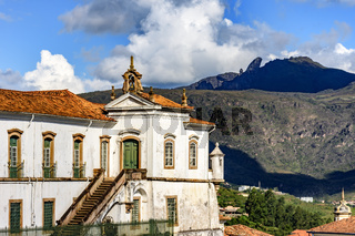 Ouro Preto city, church and hills