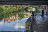 Person Walking Along The Canal, Reading, Berkshire, UK