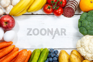 Obst und Gemüse Sammlung Lebensmittel Früchte essen kochen Rahmen Textfreiraum von oben