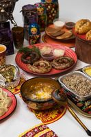 Russian table with food