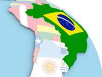 Flag of Brazil on globe