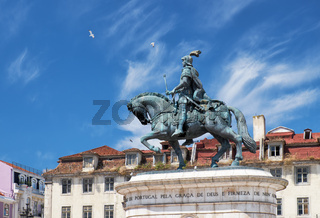 Statue of King Joao I on the Praca da Figueira . Lisbon. Portugal