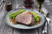 Roast Venison with Vegetable in Burgundy Sauce