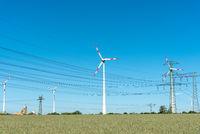 Windenergieanlagen und Stromübertragungsleitungen in Deutschland