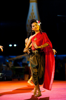 Traditional Thai Woman Dancing Night Outdoor Stage
