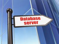 Programming concept: sign Database Server on Building background