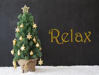 Christmas Tree, Text Relax, Black Concrete