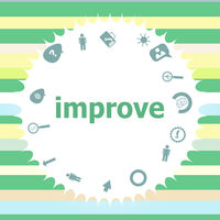 Text improve. Business concept . Infographics icon set. Icons of maths, graphs, mail and so on.