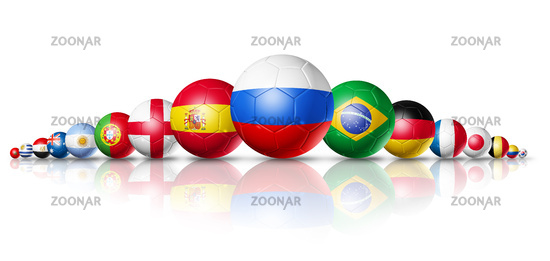 Russia 2018. Football soccer balls with team national flags