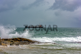 Ship stopped in bad weather