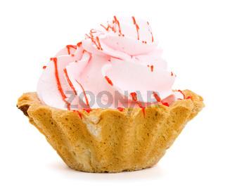 Tasty sweet cake isolated on white