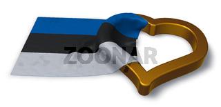 herzsymbol und flagge von estland - 3d rendering