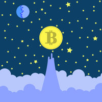 Yellow Bitcoin Icon on Blue Sky Background