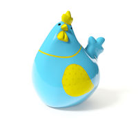 a stylish blue and yellow ceramic chicken for easter decoration