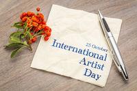 International Artist Day - text on napkin