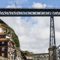 Steel bridge in historical centre of Porto